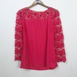 NWOT Banjul Floral Lace & Sheer Neon Pink Top